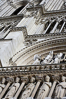 Detail of the Kings' Gallery, the rose window and the reliefs sculpted on the west façade, Notre Dame de Paris, 1163 ? 1345, initiated by the bishop Maurice de Sully, Ile de la Cité, Paris, France. Picture by Manuel Cohen
