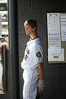 Buies Creek Astros infielder Stijn Van Der Meer (18) in the dugout during a game against the Winston-Salem Dash at Jim Perry Stadium on the campus of Campbell University on April 9, 2017 in Buies Creek, North Carolina. Buies Creek defeated Winston-Salem 2-0. (Robert Gurganus/Four Seam Images)