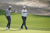 Alvaro Quiros (ESP) and Ernie Els (RSA) on the 12th fairway during the third round of the Omega Dubai Desert Classic, Emirates Golf Club, Dubai, UAE. 26/01/2019<br /> Picture: Golffile | Phil Inglis<br /> <br /> <br /> All photo usage must carry mandatory copyright credit (© Golffile | Phil Inglis)