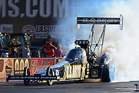 Oct. 26, 2012; Las Vegas, NV, USA: NHRA top fuel dragster driver Tony Schumacher during qualifying for the Big O Tires Nationals at The Strip in Las Vegas. Mandatory Credit: Mark J. Rebilas-