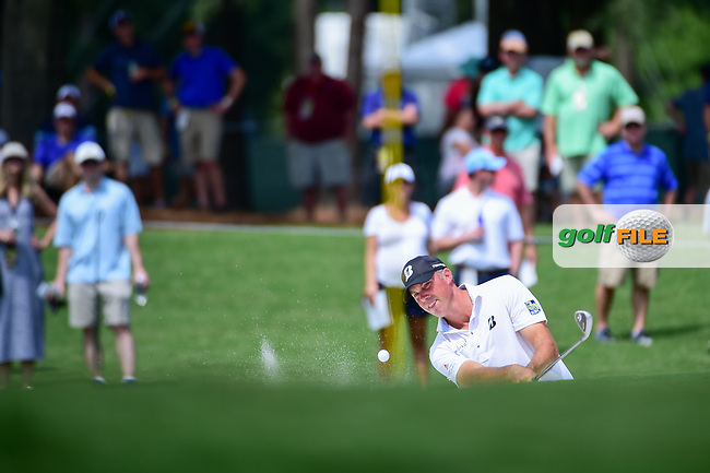 Matt Kuchar (USA) hits from the trap on 4 during Thursday's round 1 of the PGA Championship at the Quail Hollow Club in Charlotte, North Carolina. 8/10/2017.<br /> Picture: Golffile | Ken Murray<br /> <br /> <br /> All photo usage must carry mandatory copyright credit (&copy; Golffile | Ken Murray)