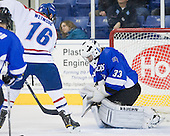 Riley Wetmore (UML - 16), Clarke Saunders (UAH - 33) - The University of Massachusetts-Lowell River Hawks defeated the University of Alabama-Huntsville Chargers 3-0 on Friday, November 25, 2011, at Tsongas Center in Lowell, Massachusetts.