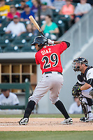 Elias Diaz (29) of the Indianapolis Indians at bat against the Charlotte Knights at BB&T BallPark on June 20, 2015 in Charlotte, North Carolina.  The Knights defeated the Indians 6-5 in 12 innings.  (Brian Westerholt/Four Seam Images)