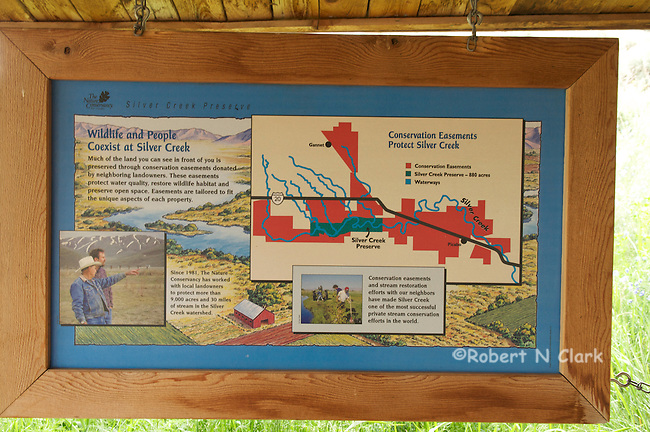Signs at the visitor center at the Silver Creek Preserve
