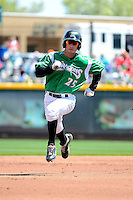 Dayton Dragons outfielder Beau Amaral #25 runs the bases on a Jesse Winker (not pictured) home run during a game against the Bowling Green Hot Rods on April 21, 2013 at Fifth Third Field in Dayton, Ohio.  Bowling Green defeated Dayton 7-5.  (Mike Janes/Four Seam Images)