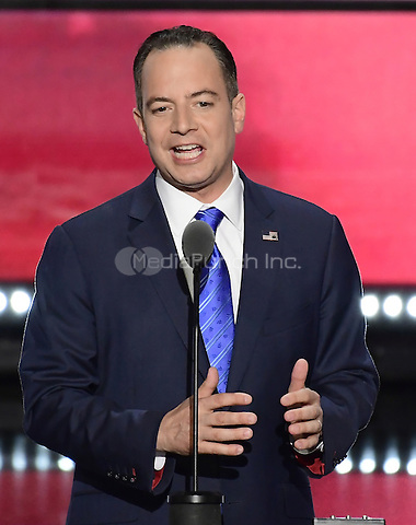 Reince Priebus, RNC Chairman ,makes remarks at the 2016 Republican National Convention held at the Quicken Loans Arena in Cleveland, Ohio on Thursday, July 21, 2016.<br /> Credit: Ron Sachs / CNP/MediaPunch<br /> (RESTRICTION: NO New York or New Jersey Newspapers or newspapers within a 75 mile radius of New York City)