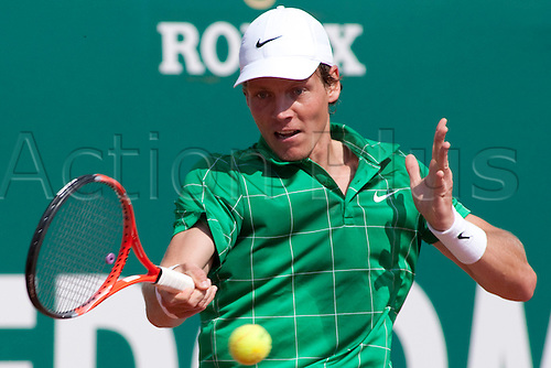 MONTE CARLO, MONACO. 15/04/2010 Tomas Berdych (CZE) in action during the third round of the ATP Monte Carlo Masters tennis tournament held in the Monte Carlo Country Club, Monaco,  from the 12th to the 18th April.