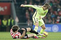 Atletic de Bilbao's Jon Aurtenetxe (l) and FC Barcelona's Ivan Rakitic during La Liga match.February 8,2015. (ALTERPHOTOS/Acero) /NORTEphoto.com