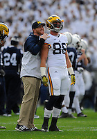 21 November 2015:  Michigan TEs coach Jay Harbaugh and TE Jake Butt (88) smile and talk before the game. The Michigan Wolverines defeated the Penn State Nittany Lions 28-16 at Beaver Stadium in State College, PA. (Photo by Randy Litzinger/Icon Sportswire)
