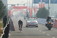 Francesco Chicchi, rides through the afternoon haze - 2011 Tour of Beijing