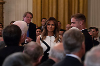 First lady Melania Trump as United States President Donald J. Trump announces his nomination of Brett Kavanaugh to be Associate Justice of the United States Supreme Court in the East Room of the White House on July 9th, 2018 in Washington, DC. <br /> CAP/MPI/RS<br /> &copy;RS/MPI/Capital Pictures