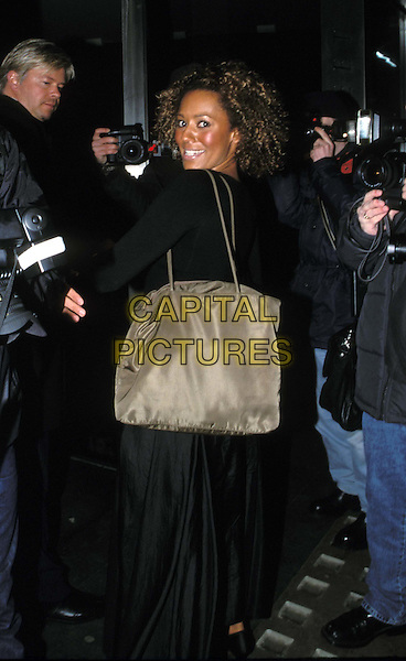 MEL B..Mel B joins cast of The Vagina Monolgues...Ref: 11506..tan bag..www.capitalpictures.com..sales@capitalpictures.com..©Capital Pictures..full length, full-length