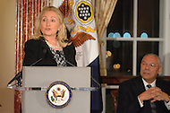 October 27, 2011  (Washington, DC)  Secretary of State Hillary Rodham Clinton speaks at the 50th Anniversary Celebration of the Diplomatic Rooms at the State Department in Washington.  Former Secretary of State Colin Powell (right).  (Photo by Don Baxter/Media Images International)