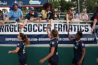 Cary, North Carolina  - Saturday April 29, 2017: Samantha Witteman, Lynn Williams, and Taylor Smith after a regular season National Women's Soccer League (NWSL) match between the North Carolina Courage and the Orlando Pride at Sahlen's Stadium at WakeMed Soccer Park.