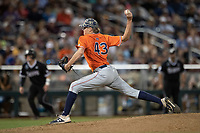Auburn Tigers pitcher Richard Fitts (43) delivers a pitch to the plate during Game 4 of the NCAA College World Series against the Mississippi State Bulldogs on June 16, 2019 at TD Ameritrade Park in Omaha, Nebraska. Mississippi State defeated Auburn 5-4. (Andrew Woolley/Four Seam Images)