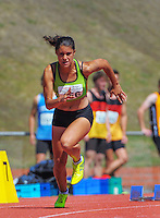 Taranaki's Zoe Hobbs competes in the junior women's 200m final on day three of the 2015 National Track and Field Championships at Newtown Park, Wellington, New Zealand on Sunday, 8 March 2015. Photo: Dave Lintott / lintottphoto.co.nz