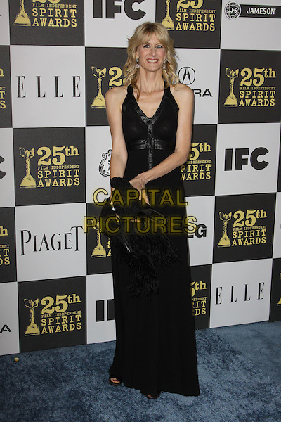 LAURA DERN .25th Annual Film Independent Spirit Awards held At The Nokia LA Live, Los Angeles, California, USA,.March 5th, 2010 ..arrivals Indie Spirit full length black long maxi dress clutch bag smiling  .CAP/ADM/KB.©Kevan Brooks/Admedia/Capital Pictures