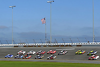 DAYTONA BEACH, FL - FEBRUARY 17: Race winner Ryan Newman leads the field through the Turn 3 banking in the Roger Penske PRS-521/Dodge during the Daytona 500 NASCAR Sprint Cup race at the Daytona International Speedway in Daytona Beach, Florida, on February 17, 2008.
