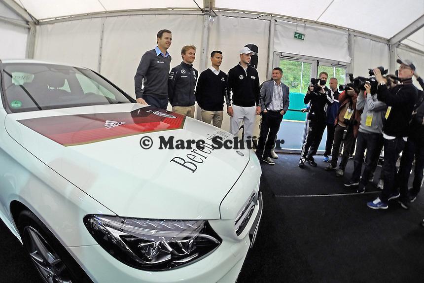 Oliver Bierhoff, Nico Roßberg, Martin Kaymer und Pascal Wehrlein - Pressekonferenz der Deutschen Nationalmannschaft  zur WM-Vorbereitung in St. Martin