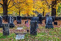 Rustic autumn cemetery.