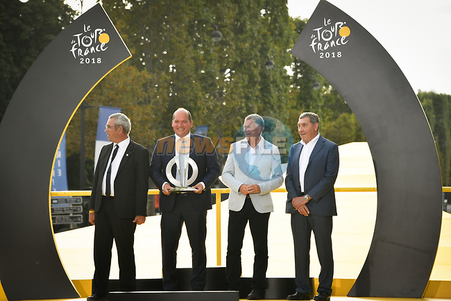 The 2019 Tour de France Grand Depart starts in Brussels, delegation on the podium at the end of Stage 21 of the 2018 Tour de France running 116km from Houilles to Paris Champs-Elysees, France. 29th July 2018. <br /> Picture: ASO/Bruno Bade | Cyclefile<br /> All photos usage must carry mandatory copyright credit (&copy; Cyclefile | ASO/Bruno Bade)