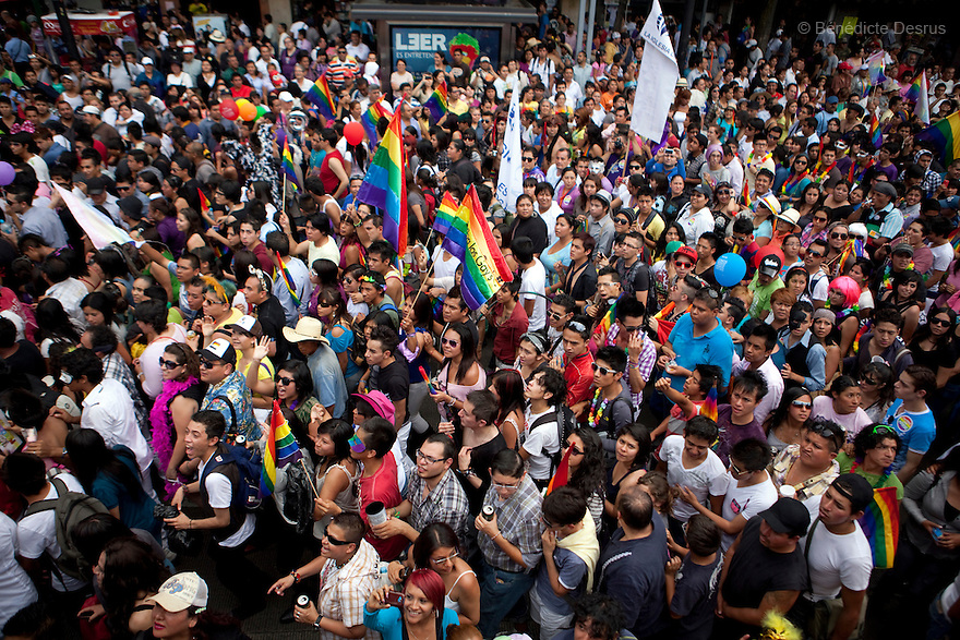 2 June 2012 - Mexico City, Mexico - People take part in the annual gay pride parade in Mexico City (known in Mexico as Marcha del orgullo LGBTQI). Mexico's high-altitude capital city has a huge and active gay population. The increasingly popular Mexico City Gay Pride is helping to heighten the LGBT community's visibility. The LGBT community has been gaining some rights in the first years of the 21st century. On 2003, the Federal Law to Prevent and Eliminate Discrimination was passed. In November 2006, the Law for Coexistence Partnerships was enacted in the Federal District. On March 2010, Mexico became the first Latin American country to allow same-sex marriage by non-judicial means. Photo credit: Benedicte Desrus