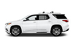 Car driver side profile view of a 2018 Chevrolet Traverse High Country 5 Door SUV