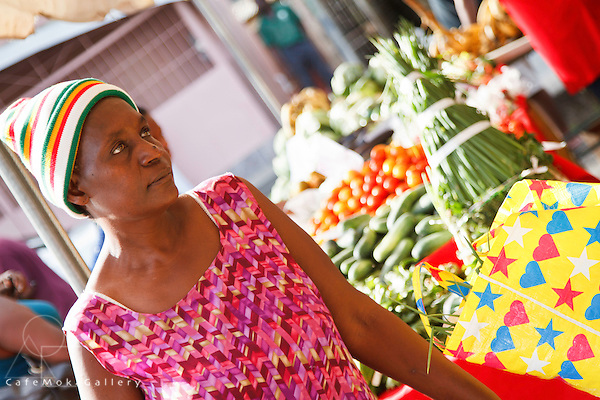 Farmer's Market - lady customer in a pink dress with wooly hat and a shopping bag with hearts and stars - Diego Martin