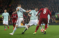 Liverpool's Roberto Firmino is tackled by Bayern Munich's Javi Martinez<br /> <br /> Photographer Rich Linley/CameraSport<br /> <br /> UEFA Champions League Round of 16 First Leg - Liverpool and Bayern Munich - Tuesday 19th February 2019 - Anfield - Liverpool<br />  <br /> World Copyright © 2018 CameraSport. All rights reserved. 43 Linden Ave. Countesthorpe. Leicester. England. LE8 5PG - Tel: +44 (0) 116 277 4147 - admin@camerasport.com - www.camerasport.com