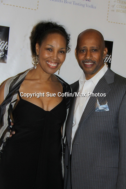All My Children, Another World, As The World and Castle's Ruben Santiago-Hudson poses with Guiding Light Kim Brockington at the Innaugural Celebration of Color on Broadway Awards were held on June 8, 2011 at SAKS Fifth Avenue, New York City, New York. The event was held upstairs where beautiful shoes are sold and where a part of the sales this night will benefit OPUS 118 Harlem's School of Music. (Photo by Sue Coflin/Max Photos)