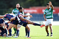 Henry Seniloli of Doncaster Knights box-kicks the ball. Pre-season friendly match, between Doncaster Knights and Newcastle Falcons on August 25, 2018 at Castle Park in Doncaster, England. Photo by: Patrick Khachfe / Onside Images