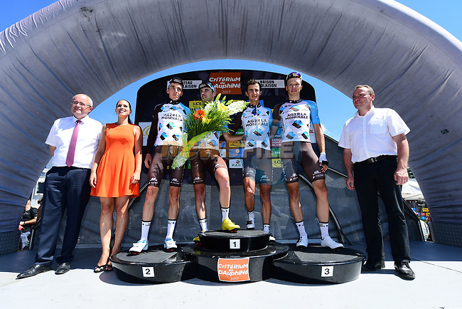 AG2R La Mondiale win the team classification at the end of the final Stage 8 of the Criterium du Dauphine 2017, running 115km from Albertville to Plateau de Solaison, France. 11th June 2017. <br /> Picture: ASO/A.Broadway   Cyclefile<br /> <br /> <br /> All photos usage must carry mandatory copyright credit (&copy; Cyclefile   ASO/A.Broadway)