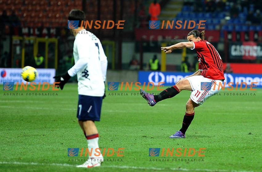 "il gol di Zlatan IBRAHIMOVIC  (Milan) GOAL celebration.Milano 29/1/2012 Stadio ""Giuseppe Meazza"".Serie A 2011/2012.Football Calcio Milan Vs Cagliari.Foto Insidefoto Alessandro Sabattini."