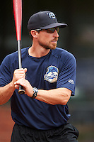 Mobile BayBears manager Robby Hammock (7) during practice before a game against the Mississippi Braves on April 28, 2015 at Hank Aaron Stadium in Mobile, Alabama.  The game was suspended after the top of the second inning with Mobile leading 3-0, the BayBears went on to defeat the Braves 6-1 the following day.  (Mike Janes/Four Seam Images)