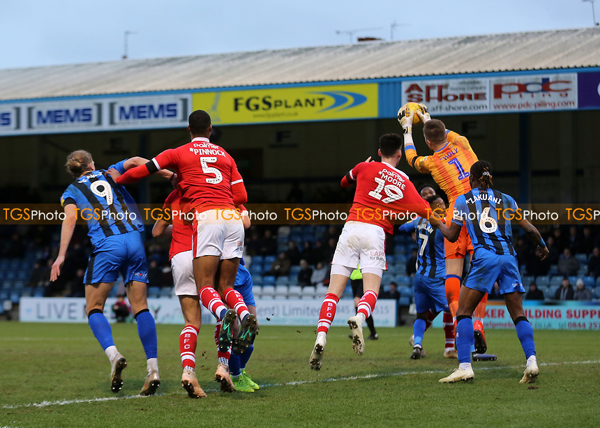 Gillingham goalkeeper, Tomas Holy, makes a save to thwart a Barnsley attack during Gillingham vs Barnsley, Sky Bet EFL League 1 Football at The Medway Priestfield Stadium on 9th February 2019