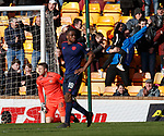 17.02.2019: Motherwell v Hearts: Hearts keeper Colin Doyle misjudges the bounce on David Turnbull's free kick and it spills over him and into the net