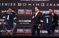 LOS ANGELES - FEBRUARY 16: (L-R) Errol Spence Jr., Kenny Albert, and Mikey Garcia attend the Los Angeles press conference for the Spence vs Garcia March 16 Fox Sports PBC PPV fight on February 16, 2019 in Los Angeles, California. The March 16 fight will be at the AT&T Stadium in Dallas, Texas. (Photo by Frank Micelotta/Fox Sports/PictureGroup)