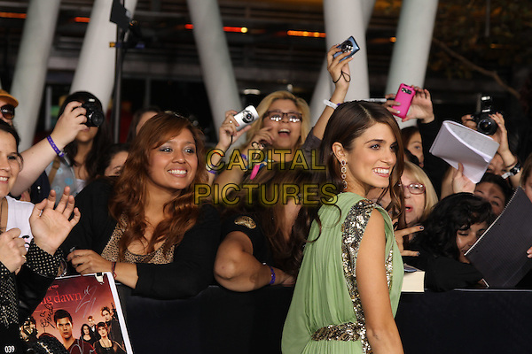 NIKKI REED.The Los Angeles premiere of 'The Twilight Saga Breaking Dawn Part 1' at Nokia Theatre at L.A. Live in Los Angeles, California, USA..November 14th, 2011.half length dress silver gold sequins sequined beads beaded side fans crowd .CAP/CEL .©CelPh/Capital Pictures