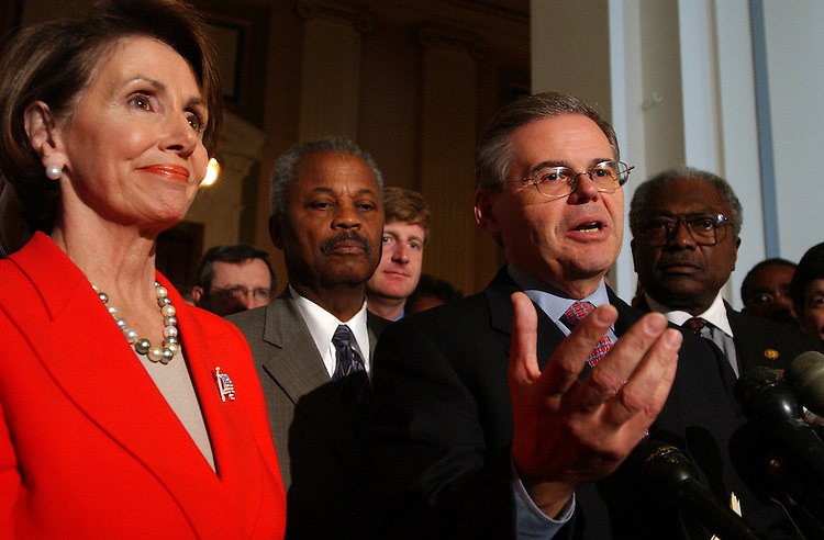 dems4/111402 -- Rep. Bob Menedez, D-N.J., newly elected Chairman of the Democratic Caucus, attends a news conference with new House Minority Leader Nancy Pelosi, D-Calif., after the Democratic Leadership elections, Thursday.