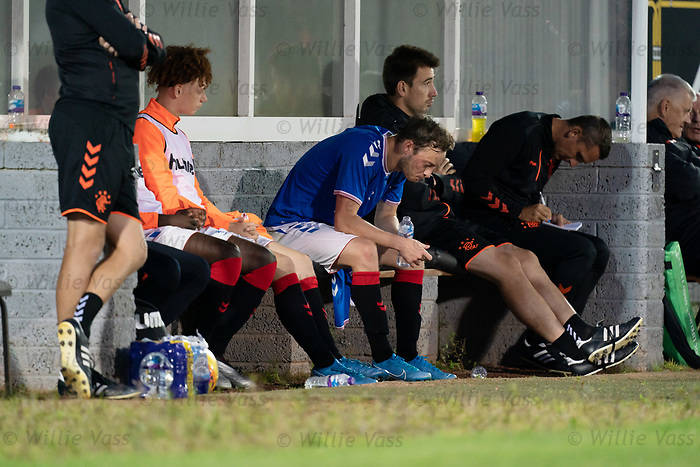 26.08.2019 Rangers Colts v Partick Thistle: Brandon Barker dejected on the bench