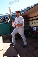 OAKLAND, CA - SEPTEMBER 4:  Juan Rivera of the Los Angeles Angels of Anaheim stands in the dugout before the game against the Oakland Athletics at the Oakland-Alameda County Coliseum on September 4, 2010 in Oakland, California. Photo by Brad Mangin