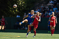 Seattle, WA - Saturday, August 26th, 2017: Emily Sonnett and Katlyn Johnson during a regular season National Women's Soccer League (NWSL) match between the Seattle Reign FC and the Portland Thorns FC at Memorial Stadium.