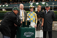 LEXINGTON, KY - October 8, 2017. Trainer Mark Casse playfully pretends to take off with the winning trophy in the winners circle presentation, while waiting for an objection that resulted in #1 Tigers Rule being moved from 2nd to 3rd place.   <br /> #12 Flameaway and Julien Leparoux after winning the 27th running of the Dixiana Bourbon Grade 3 $250,000 &quot;Win and You're In Breeders' Cup Juvenile Turf Division&quot; for owner John Oxley and trainer Mark Casse at Keeneland Race Course.  Lexington, Kentucky. (Photo by Candice Chavez/Eclipse Sportswire/Getty Images)