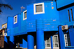 Blue painted police station building, Corralejo, Fuerteventura, Canary Islands, Spain