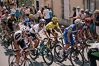 World Champion Peter Sagan (SVK/Bora-Hansgrohe) &amp; yellow jersey / GC leader Fernando Gaviria (COL/Quick-Step Floors) together in the peloton, rolling through the town of  R&eacute;aumur<br /> <br /> Stage 2: Mouilleron-Saint-Germain &gt; La Roche-sur-Yon (183km)<br /> <br /> Le Grand D&eacute;part 2018<br /> 105th Tour de France 2018<br /> &copy;kramon