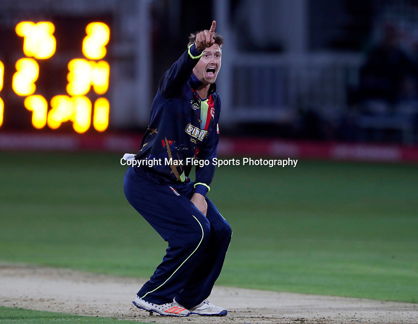 Joe Denly appeals during the Vitality Blast T20 game between Kent Spitfires and Somerset at the St Lawrence Ground, Canterbury, on Thur Aug 16, 2018