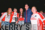 Daingean Uí Chúis and Kerry player Paul Geaney celebrating with Pobalscoil Chorca Dhuibhne students after the school's team won the Corn Uí hÓgain All-Ireland in Croke Park on Saturday night.