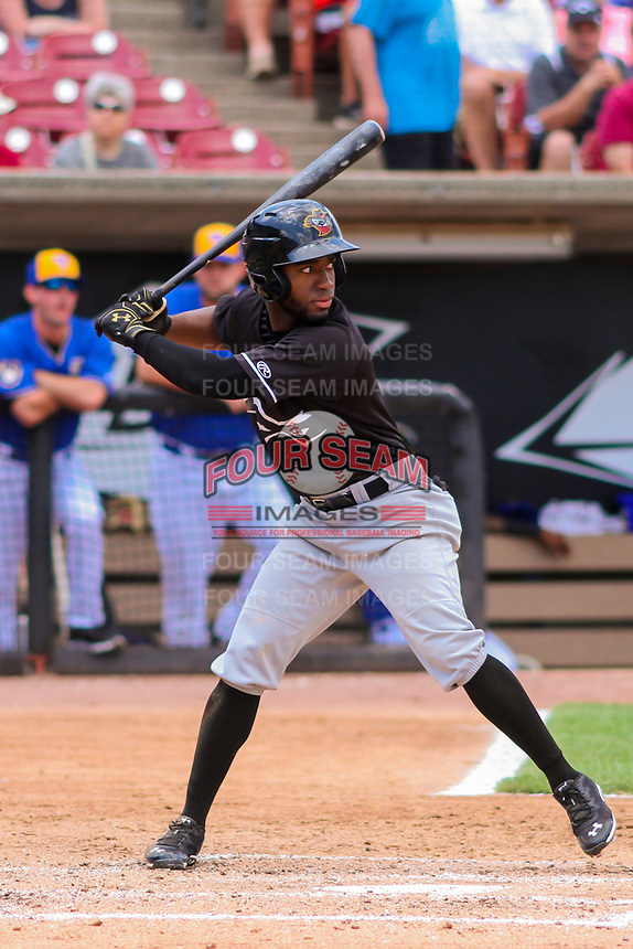 Quad Cities River Bandits outfielder Marcos Almonte (1) at bat during a Midwest League game against the Wisconsin Timber Rattlers on June 27, 2017 at Fox Cities Stadium in Appleton, Wisconsin.  Quad Cities defeated Wisconsin 6-5. (Brad Krause/Four Seam Images)