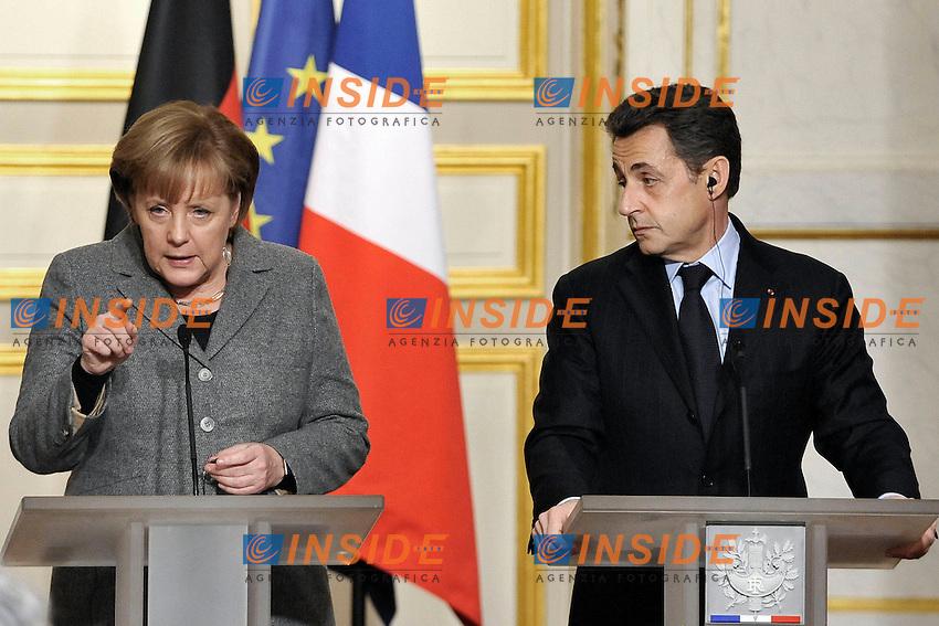 Angela Merkel Cancelliere Federale della Germania  e Nicolas Sarkozy Presidente della Repubblica Francese.Parigi 06/02/2012 Conferenza Stampa al termine del Consiglio dei Ministri Franco Tedesco.Foto Insidefoto/Gerard Roussel/PANORAMIC.ITALY ONLY ......