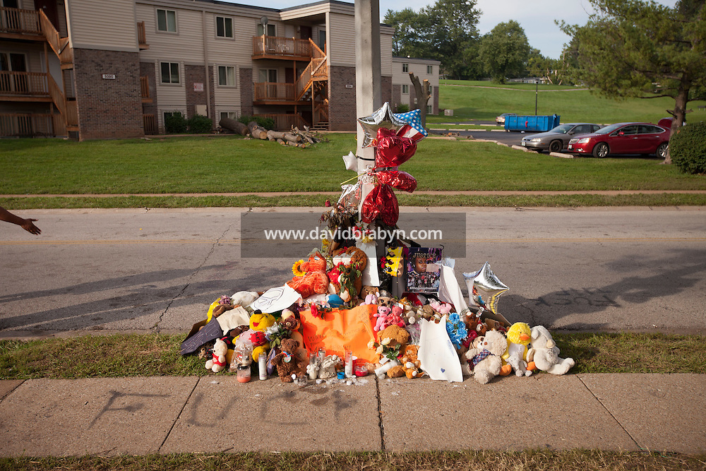 HSUL 20140819 United States, Ferguson, MO. Memorial to Michael Brown at the spot where he was killed on Canfield Drive in Ferguson, MO, on August 19, 2014. Photographer: David Brabyn